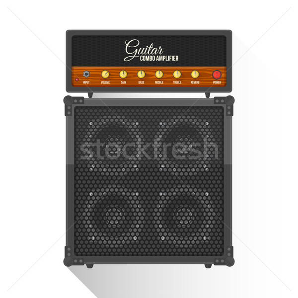 vector flat style electric guitar combo amplifier cabinet illust Stock photo © TRIKONA