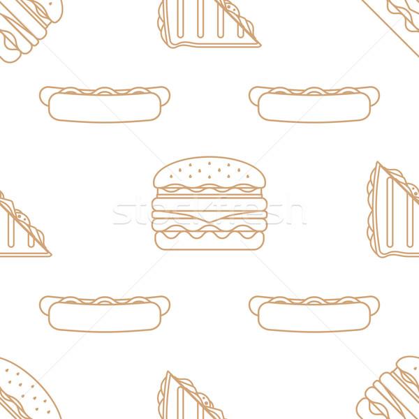 Hot dog klub szendvics hamburger skicc végtelen minta vektor Stock fotó © TRIKONA
