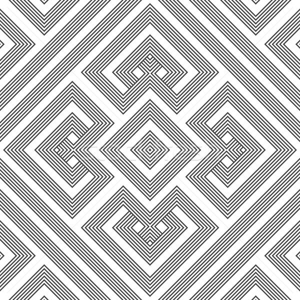 monochrome geometric knotted seamless pattern Stock photo © TRIKONA