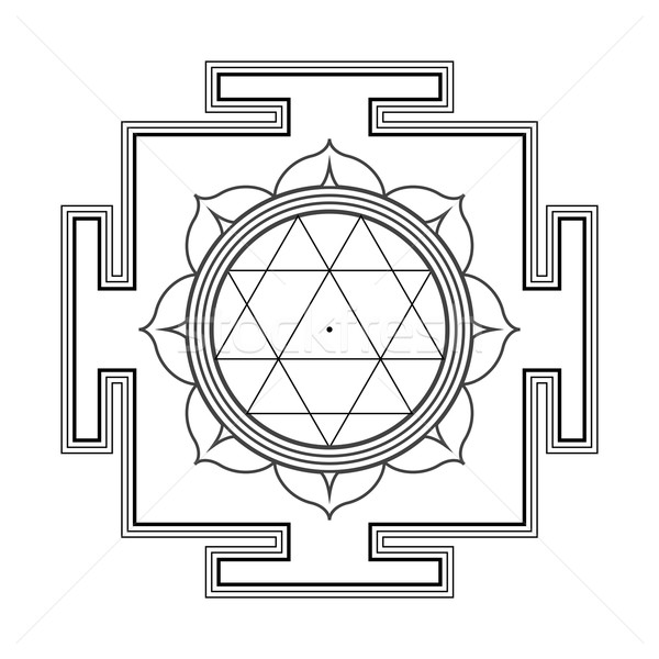 monocrome outline Durga yantra illustration