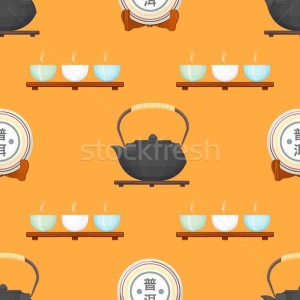 Tea szertartás végtelen minta vektor színes terv Stock fotó © TRIKONA
