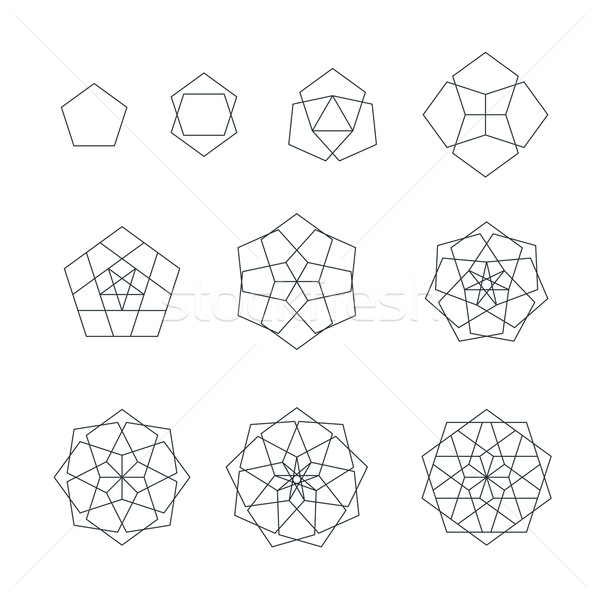 pentagon contour various sacred geometry set