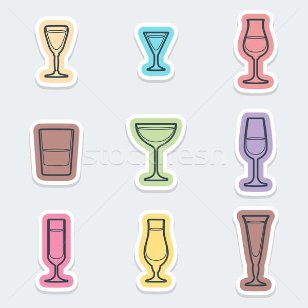 Alkohol szemüveg címkék ikonok vektor különböző Stock fotó © TRIKONA