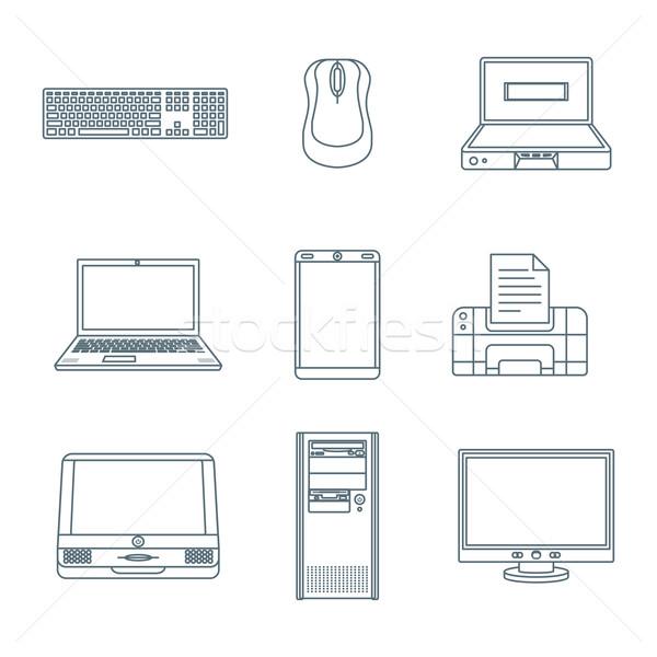 dark outline computer gadgets icons Stock photo © TRIKONA