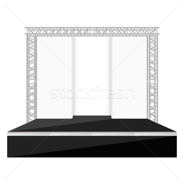 black color flat style stage with scenes back metal truss illust Stock photo © TRIKONA