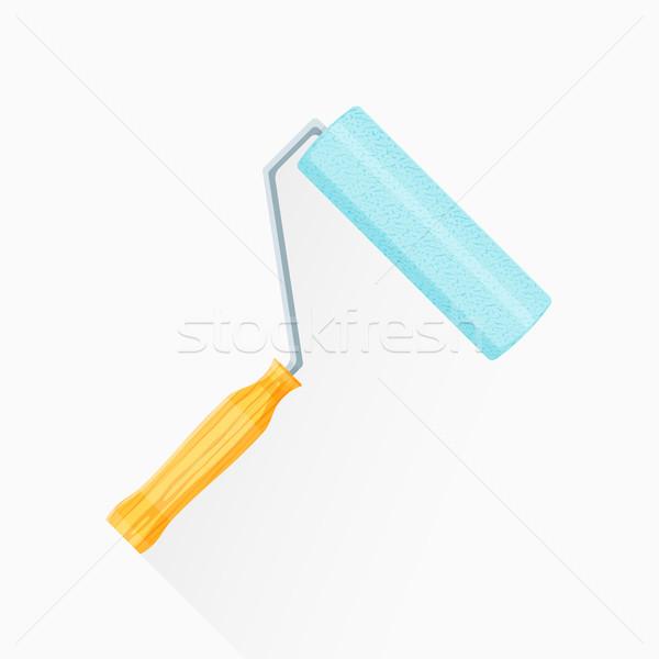 vector flat paint roller illustration icon Stock photo © TRIKONA