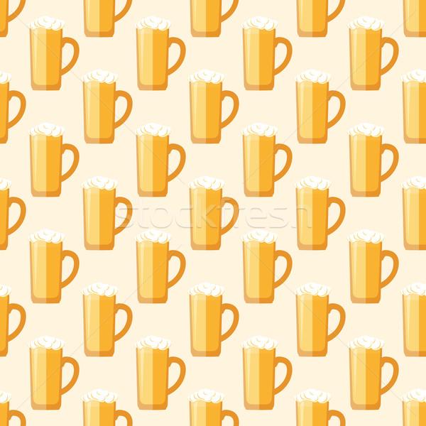 Színes sör bögre végtelen minta vektor citromsárga Stock fotó © TRIKONA