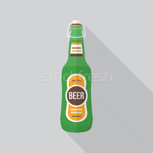 Stílus sörösüveg ikon árnyék vektor színes Stock fotó © TRIKONA