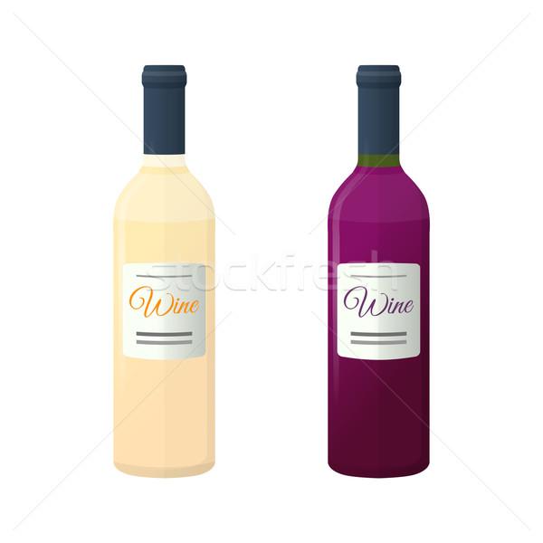 Foto stock: Branco · vermelho · casal · vinho · garrafas