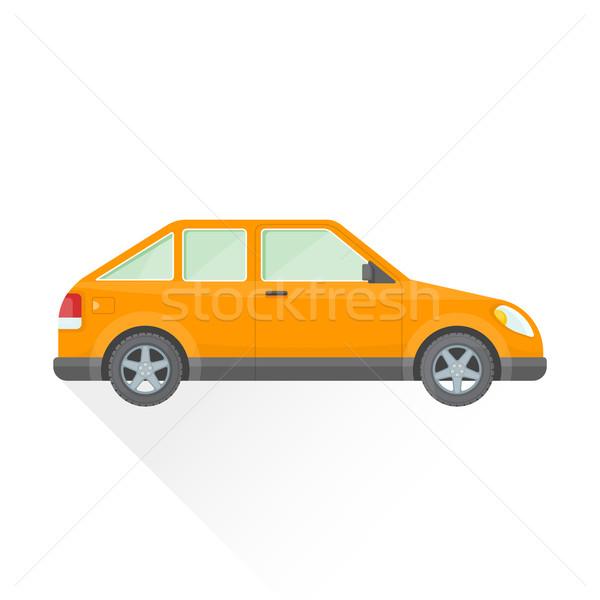 vector flat orange hatchback car body style illustration icon Stock photo © TRIKONA