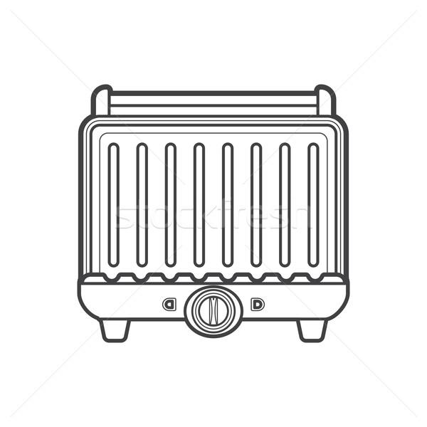 outline metal kitchen electric grill illustration Stock photo © TRIKONA