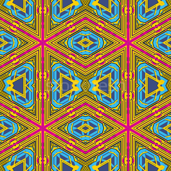 blue gold violet color abstract geometric seamless pattern Stock photo © TRIKONA