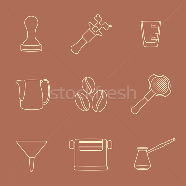 outline coffee barista instruments icons set Stock photo © TRIKONA