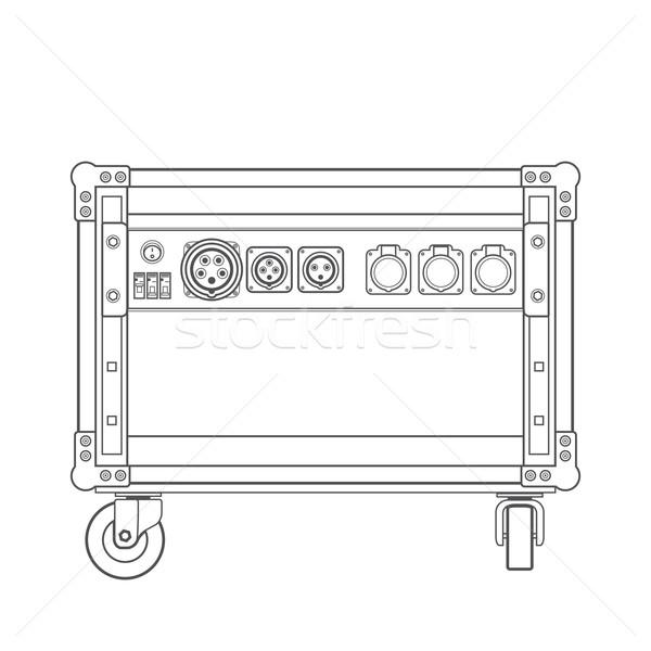 dark contour concert stage rack box power sockets panel illustra Stock photo © TRIKONA