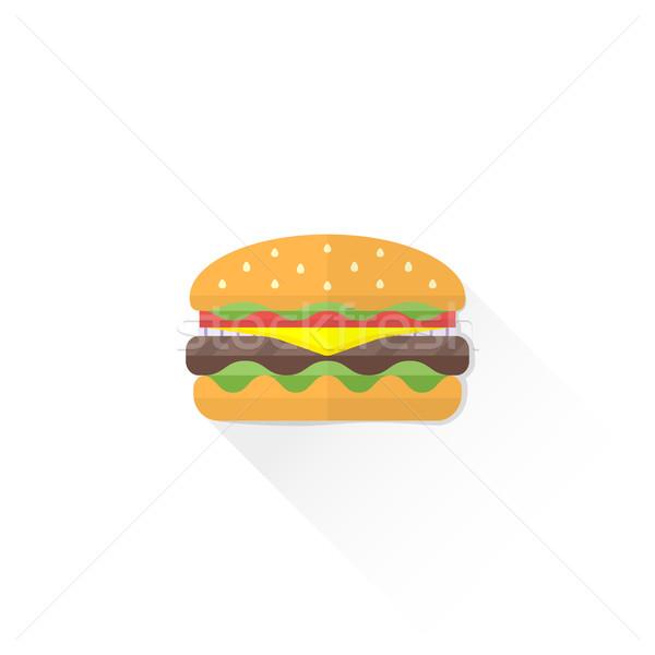color fast food hamburger icon illustration Stock photo © TRIKONA