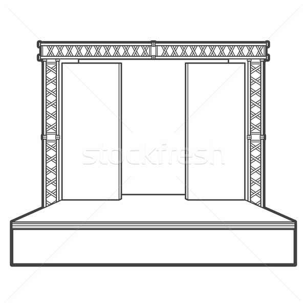 outline stage with scenes back metal truss illustration