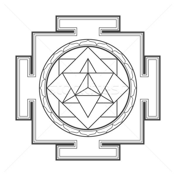 monocrome outline merkaba yantra illustration Stock photo © TRIKONA