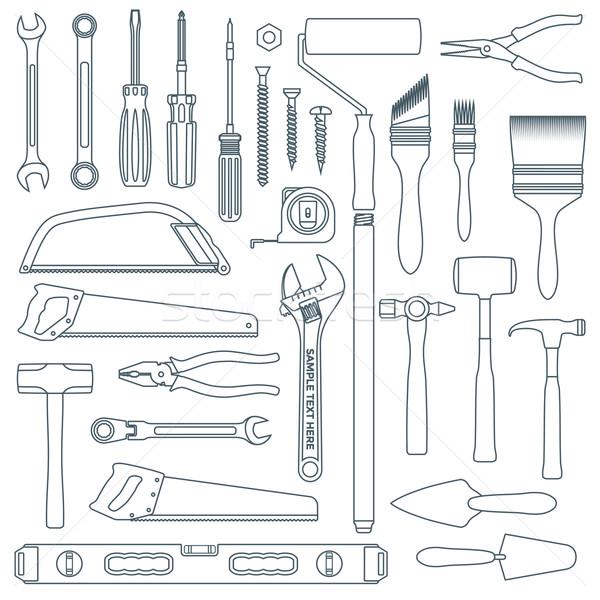 dark outline various house remodel instruments set Stock photo © TRIKONA