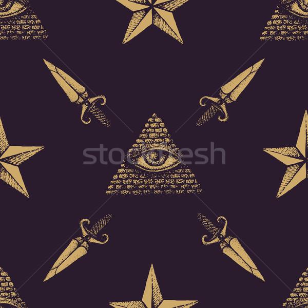 вектора рисованной шаблон монохромный золото Сток-фото © TRIKONA