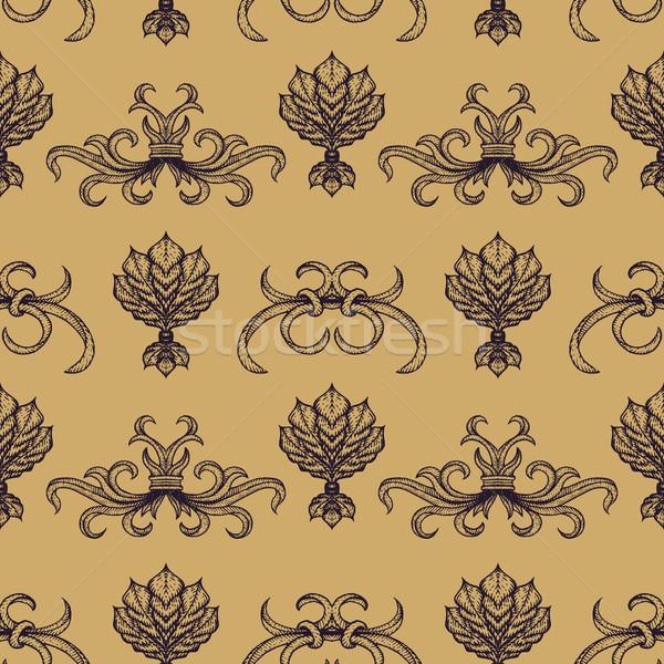 vector engraving vintage seamless pattern Stock photo © TRIKONA