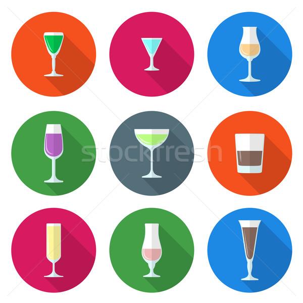Szilárd színek alkohol szemüveg szett terv Stock fotó © TRIKONA
