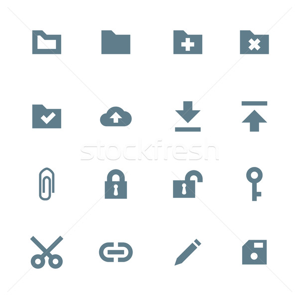 solid grey various file actions icons set Stock photo © TRIKONA