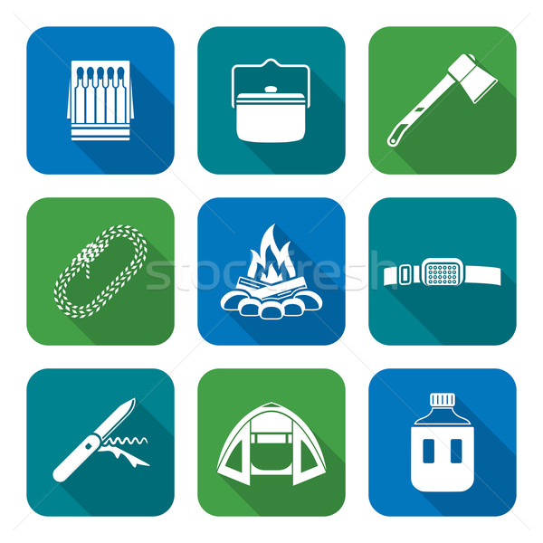white color flat style various camping icons collection
