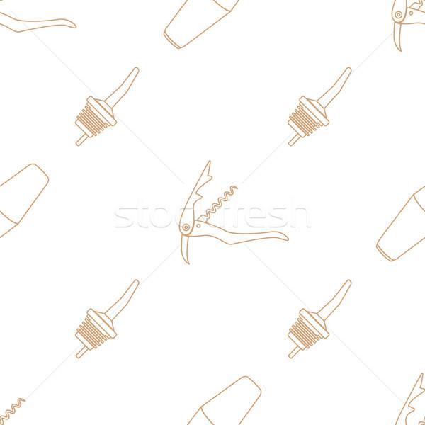 barman equipment contour seamless pattern Stock photo © TRIKONA