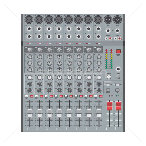 eight channels professional studio sound mixer Stock photo © TRIKONA