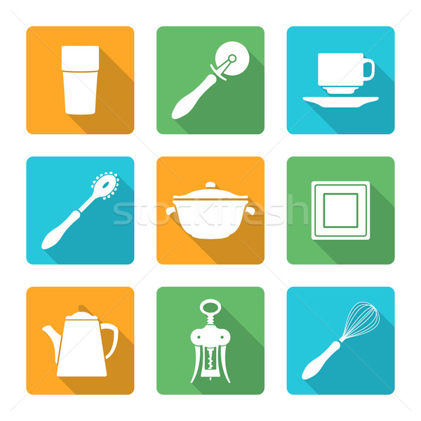 flat style white design dinnerware icons set Stock photo © TRIKONA