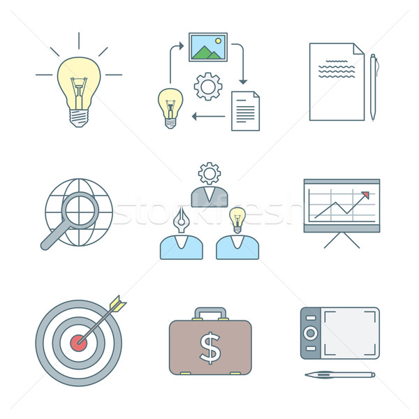 colored outline creative business process icons set