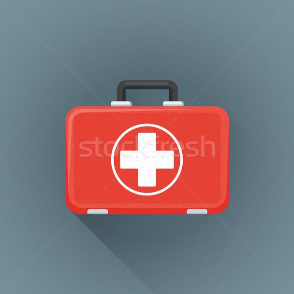 vector flat red medical suitcase illustration icon Stock photo © TRIKONA
