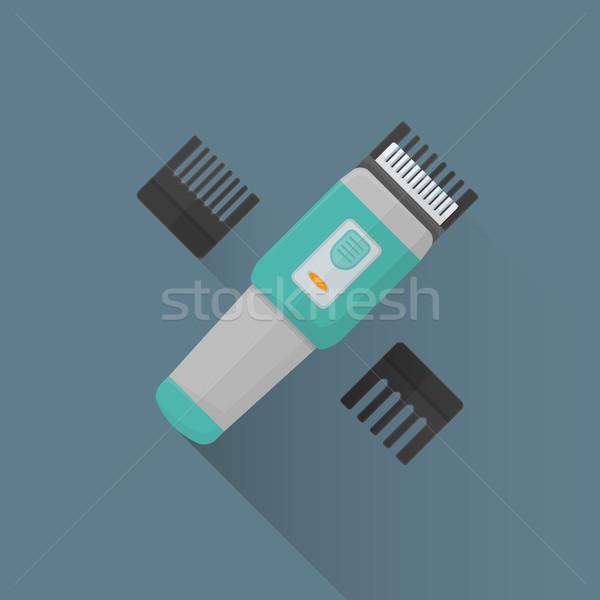Stock fotó: Vektor · illusztráció · ikon · színes · terv · fodrász