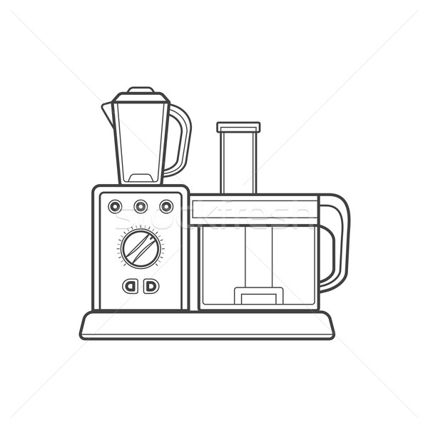 outline kitchen food processor illustration