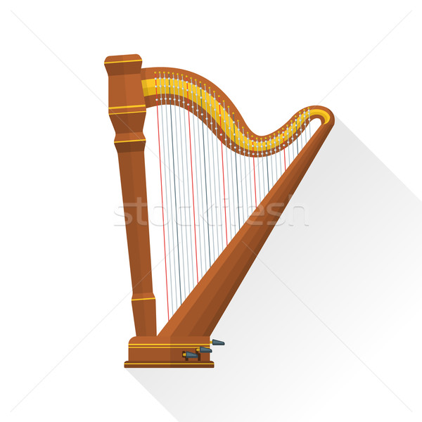 color flat style vector pedal harp