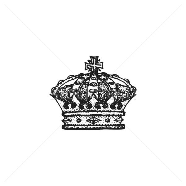 Vektor kézzel rajzolt korona illusztráció fekete munka Stock fotó © TRIKONA