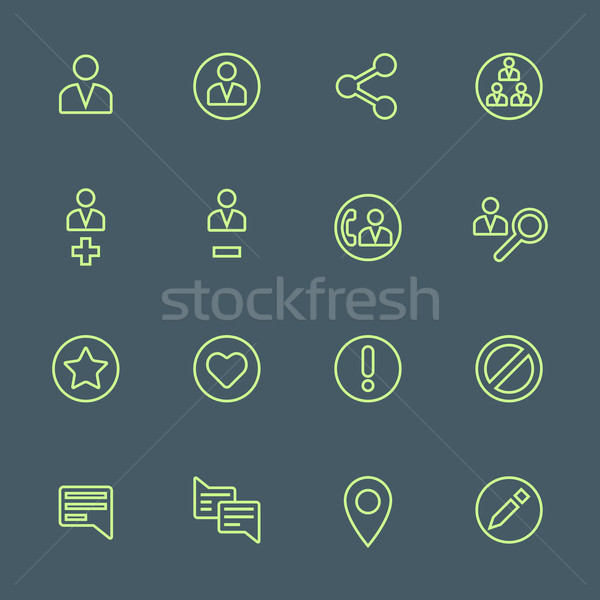 green outline various social network actions icons set Stock photo © TRIKONA