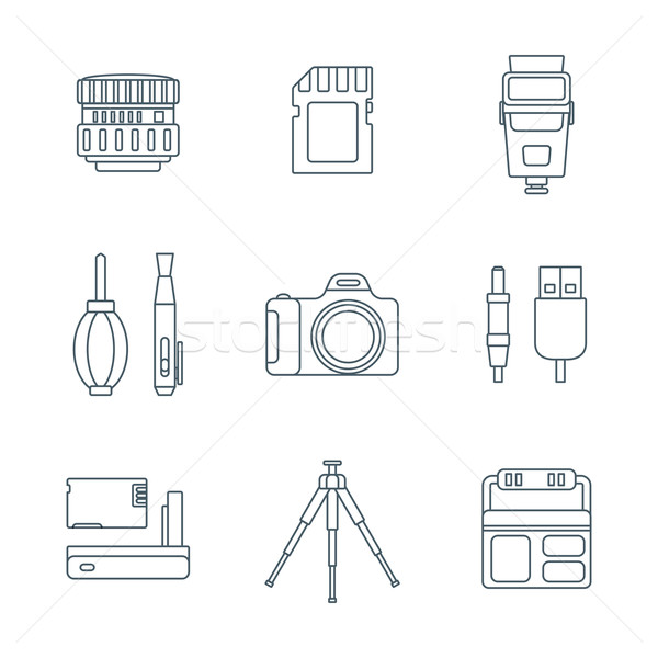 dark outline various digital photography tools icons  Stock photo © TRIKONA