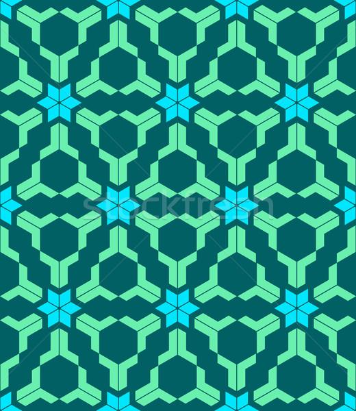 abstract geometric blue green seamless pattern Stock photo © TRIKONA