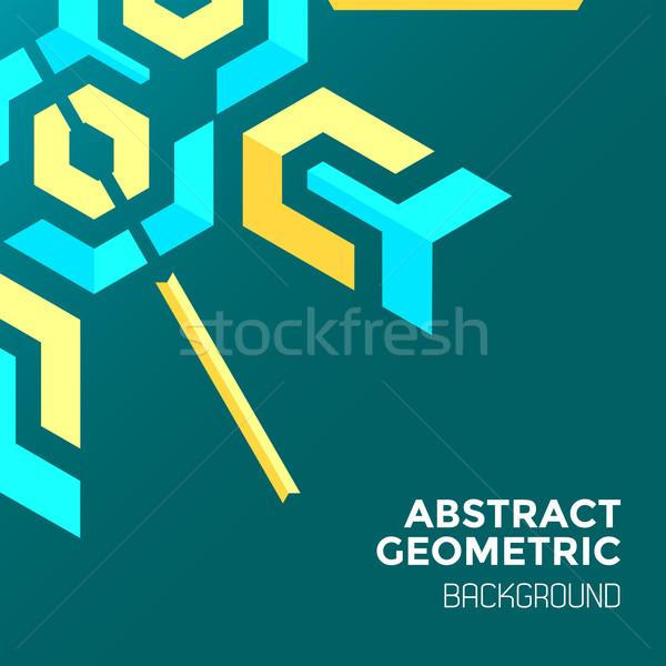blue yellow green abstract geometric background  Stock photo © TRIKONA