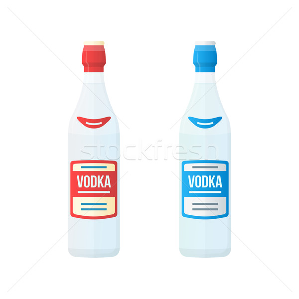 colored flat red and blue label couple vodka bottles illustratio Stock photo © TRIKONA