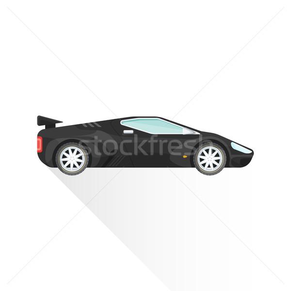 vector flat black concept sport car body style illustration icon Stock photo © TRIKONA