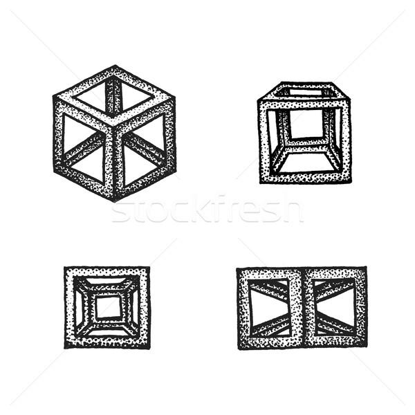 hand drawn dotted style polyhedron illustration set Stock photo © TRIKONA