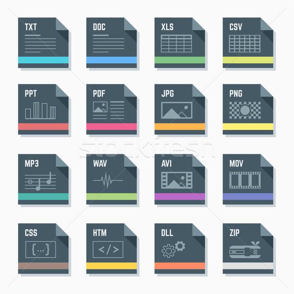 file formats icons set with illustrations Stock photo © TRIKONA