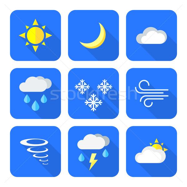flat style colored weather forecast icons set Stock photo © TRIKONA
