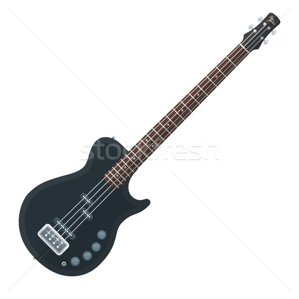 flat style black electric bass guitar illustration Stock photo © TRIKONA