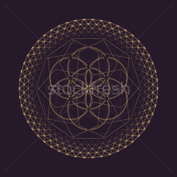 ストックフォト: ベクトル · 曼陀羅 · 幾何 · 実例 · 金
