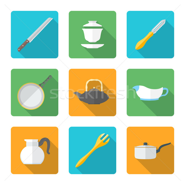 flat style design dinnerware icons set Stock photo © TRIKONA