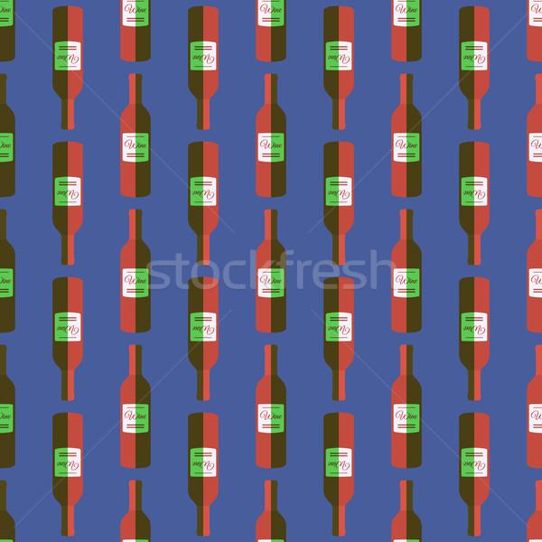 Pop art wino czerwone butelki wektora kolorowy Zdjęcia stock © TRIKONA