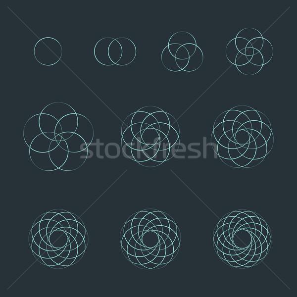 Cercle contour sacré géométrie Photo stock © TRIKONA